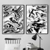 Abstract Marble Style Black and White Prints