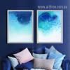 Watercolor Pattern Abstract Blue Ocean Wall Art Set (2)
