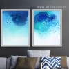 Watercolor Pattern Abstract Blue Ocean Wall Art Set