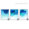 Abstract Blue Ocean Watercolor Wall Art Set