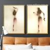 Naked Girl with Gun Shadow Design Canvas Prints
