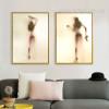 Naked Girl with Gun Shadow Design Canvas Wall Art
