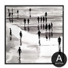 People on Beach Scenery Black and White Canvas Art