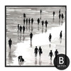 People on Beach Scenery Black and White Wall Art