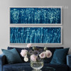 Blue and White Flowers Long Wall Art (3)