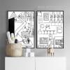 Bar, Tools, Cartoon Design Black and White Prints (2)