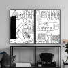 Bar, Tools, Cartoon Design Black and White Prints (3)