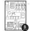 Bar, Cartoon Design Black and White Art