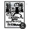 Cartoon Central Park Letters Design Black and White Art