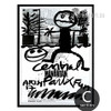 Cartoon Central Park Letters Design Black and White Art