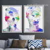 Abstract Watercolor Human Face Portrait Painting Prints (2)
