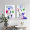 Abstract Watercolor Human Face Portrait Painting Prints (3)
