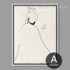 Fashionable Princess Style Dress Woman Black and White Print
