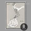 Black and White Long Dress Woman Artwork