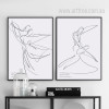 Couple Dancing Steps Design Black and White Canvas Prints