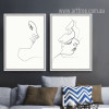 Minimal Line Drawing Woman Face Design Black and White Prints (3)