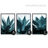 Tropical Blue Green Plants Painting Prints (2)