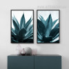 Tropical Blue Green Plants Botanical Prints (2)