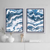 Blue and White Abstract Marble Painting Prints (2)