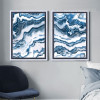Blue and White Abstract Marble Painting Prints (3)