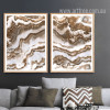 Brown and White Abstract Marble Painting Prints (2)