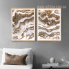 Brown and White Abstract Marble Painting Prints