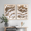 Brown and White Abstract Marble Painting Prints (3)