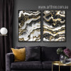 Modern Abstract Black Golden Canvas Prints (3)