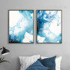 Abstract Watersplash Pattern Blue Watercolor Prints (3)