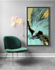 Abstract Golden Blue Splash Style Canvas Print (2)