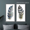 Blue and Grey Bird Feathers Painting Prints (2)