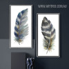 Blue and Grey Bird Feathers Painting Prints (3)