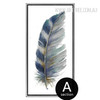 Blue and Grey Bird Feathers Canvas Painting Print
