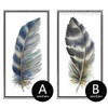 Blue and Grey Bird Feathers Painting Prints (4)