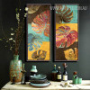 Oversized Multicolor Monstera Leaves Canvas Prints (2)