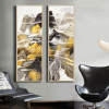 Abstract Mountain Ranges Yellow Grey Canvas (3)