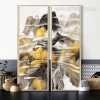 Abstract Mountain Ranges Yellow Grey Canvas