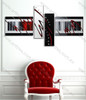 multi panel wall painting Red Zig Zag