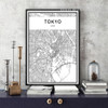 Tokyo Japan City Map Black and White Canvas Print (2)