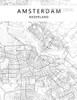 Amsterdam Nederland Map Black and White Art