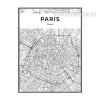Paris City Map Black and White Art