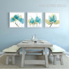Abstract Watercolor Blue Leaves Kitchen Decor Canvas