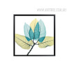 Abstract Watercolor Blue Leaf Canvas Print