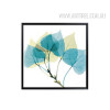 Abstract Watercolor Blue Leaf Wall Art