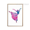 Pink Blue Ballet Dancing Girl Canvas Painting Print