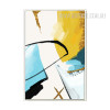 Abstract Yellow Blue Black Curves Painting Print