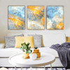 Blue Yellow Modern Abstract Watercolor Print Set