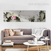 Lotus Flower Design Panoramic Canvas Wall Art