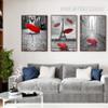 Paris Eiffel Tower Red Umbrella Canvas Painting Prints