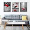 Paris Eiffel Tower Red Umbrella Canvas Painting Print Set